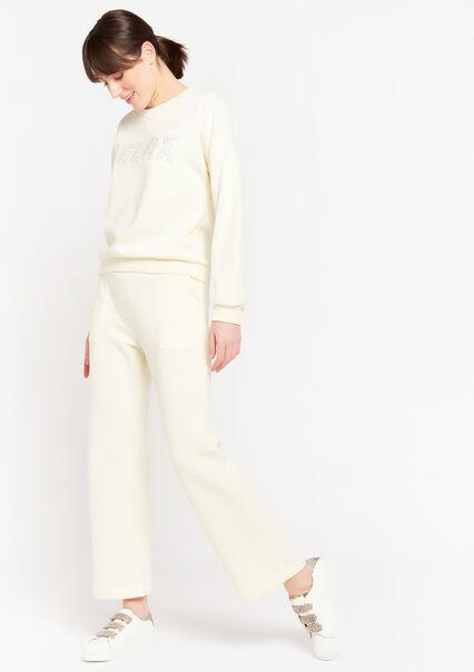 T-shirt à texte avec manches longues - WHITE SAND - 15100065_1041