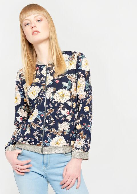 Jasje met rits & bloemenprint - BLACK IRIS - 09100186_1667