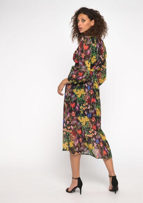 Robe midi imprimé fleurs - YELLOW ACIDULE - 08600981_4915