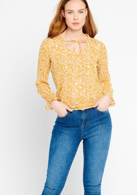 Blouse met print & smokwerk - LEMON CURRY - 05700291_1237