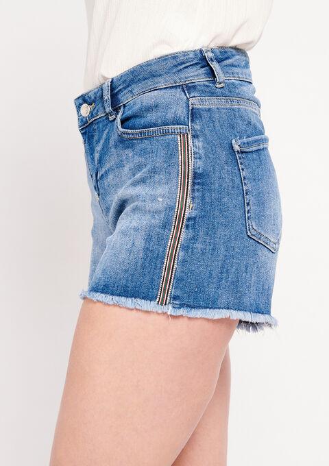 Jeansshort met tape opzij - MEDIUM BLUE - 22000141_500