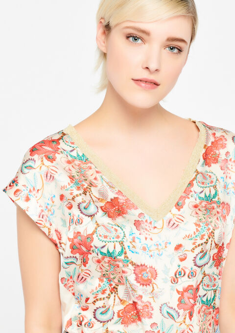 T-shirt met bloemenprint - PINK SPRINGY - 943239