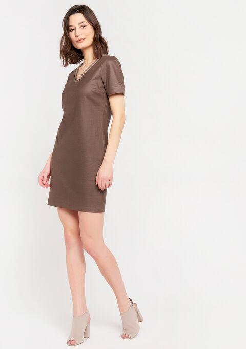 Mini jurk met versierde kraag - TAUPE - 08102014_1021