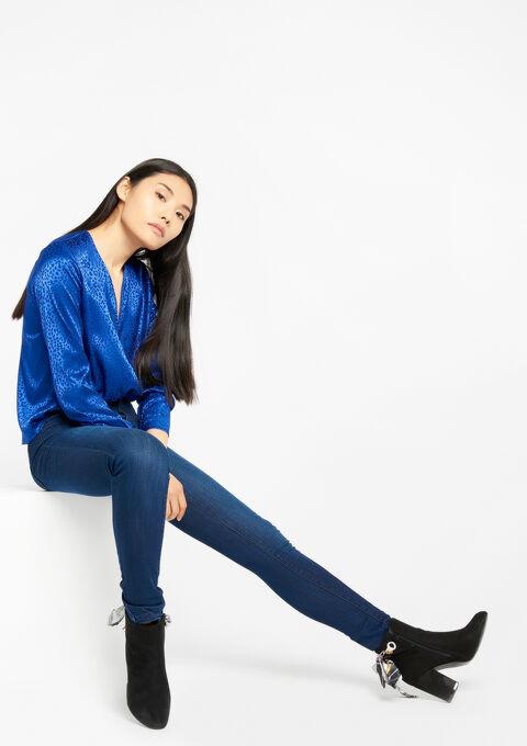 Skinny jeans met hoge taille - DARK BLUE - 22000022_501