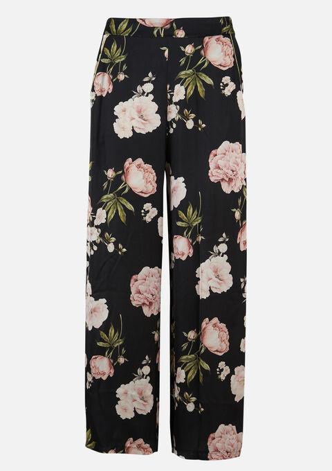 Losse broek met bloemenprint - BLACK - 06600372_1119