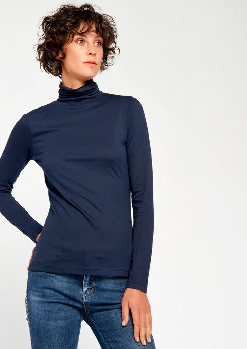 T-shirt met rolkraag & lange mouwen - NAVY MARINE - 02005634_1650