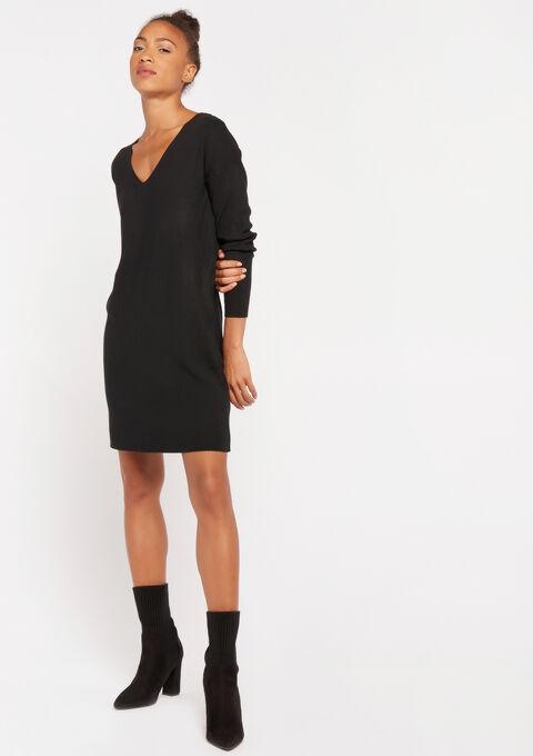 Robe tricotée col-v - BLACK - 08101636_1119