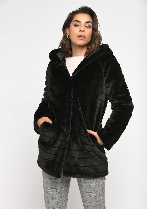 Faux-fur coat - BLACK - 23000221_1119
