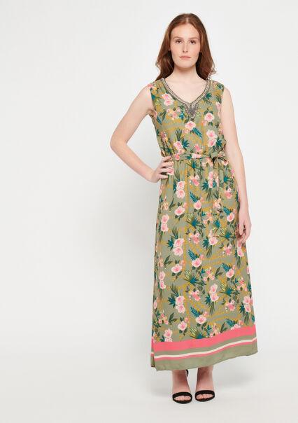 cb68cdfa04e52d Maxi-jurk met print   versierde hals - KHAKI DUSKY - 08600095 4402 ...