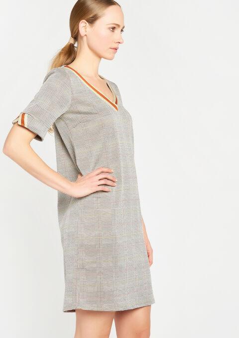 Rechte jurk met v-hals & print - BROWN SHELL - 932585