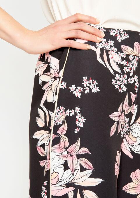 Broek met wijde pijpen en bloemenprint - BLACK - 06600093_1119