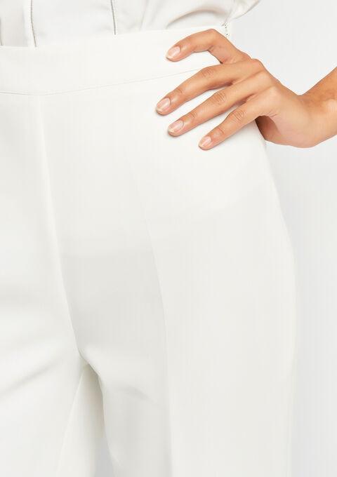 Elegante broek met wijde pijpen - WHITE ALYSSUM - 06100190_2502