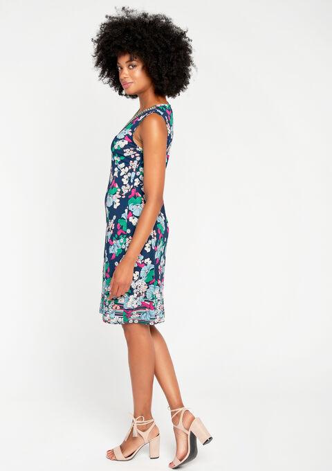 Jurk met bloemenprint & versierde hals - NAVY PAPER - 08100022_2708