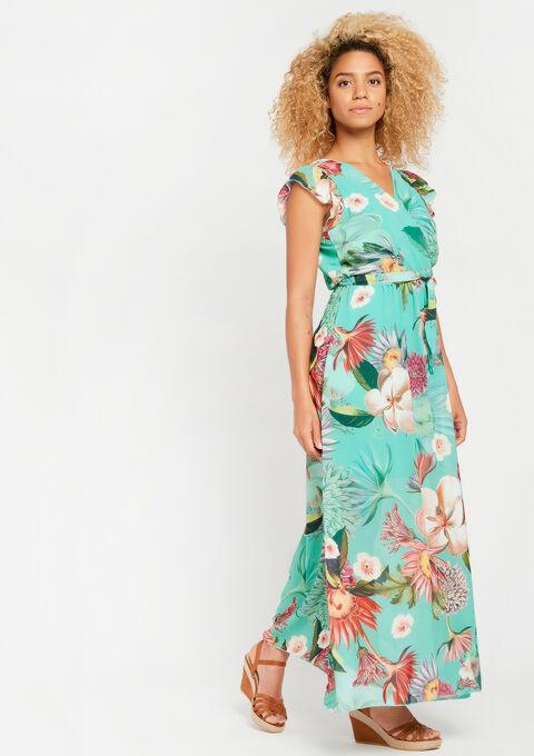 Lange jurk met bloemenprint - TURQUOISE - 08600450_1759