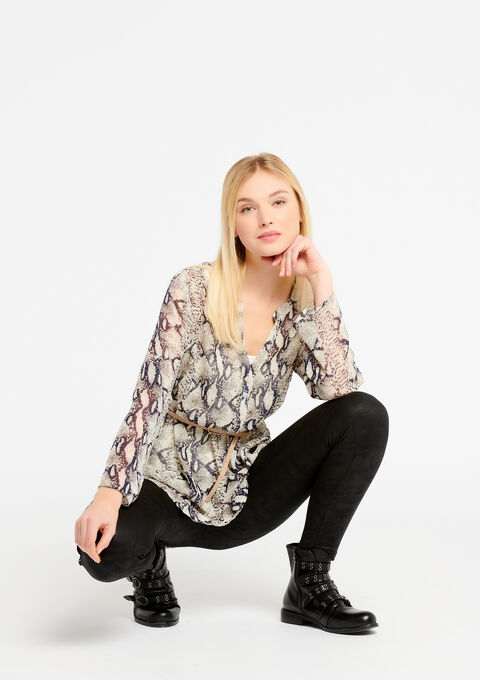 Blouse met pythonprint en strass - GREY GALET MEL. - 05700220_3505