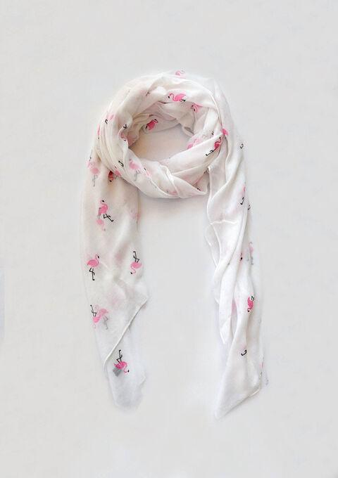 453f4035fde6bc Sjaal met glitter-flamingo s - OPTICAL WHITE - 898794