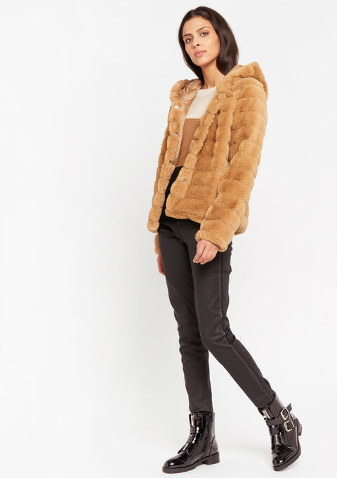 Short coat faux-fur - BEIGE BISCUIT - 23000236_4018