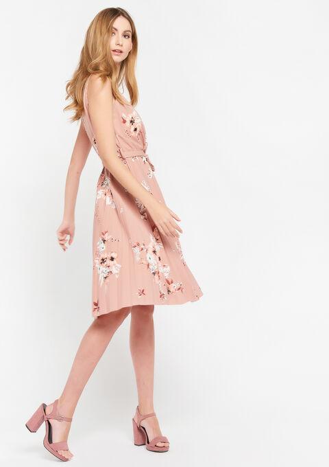 Cache-coeur jurk met bloemenprint - CORAL SALMONE - 08102139_5409
