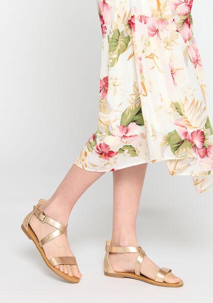 Platte sandalen met goud metallic finish - CHAMPAGNE SAND  - 13000558_4007