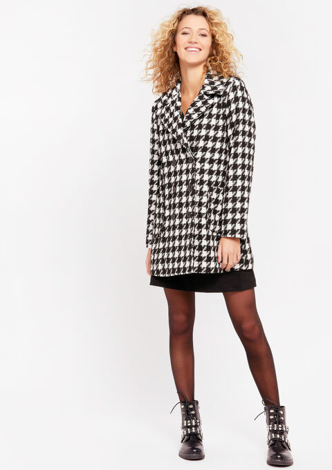 Mantel met pied-de-poule print - BLACK & WHITE MEL - 974913