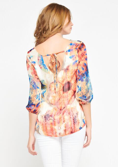 Wijde blouse met open rug, tie dye - CORAL EMBERGLOW - 05700379_5404