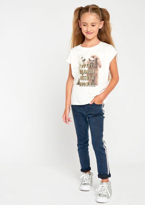 T-shirt met slogan & fotoprint - IVORY WHITE - 906500