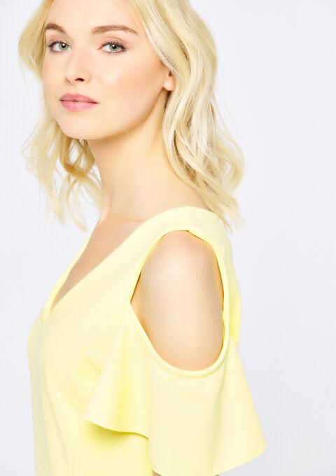 Bodycon jurk met open schouders - YELLOW SUMMER - 08100705_1185