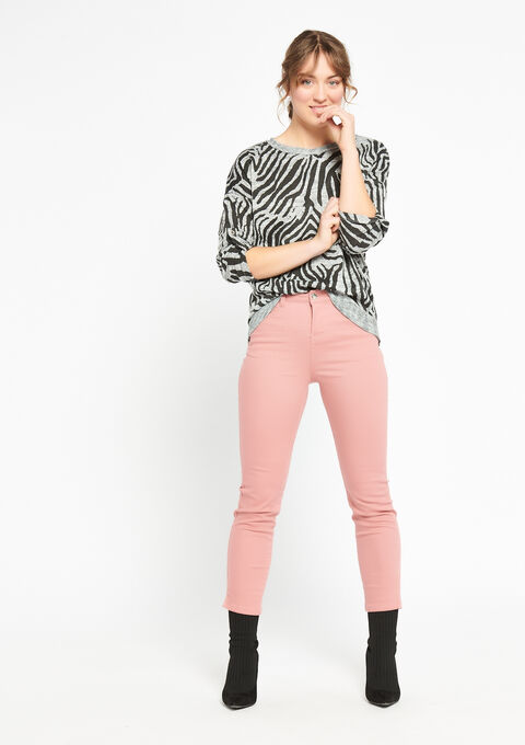 Sweater met zebra-print & lurex - LIGHT GREY MEL - 03001346_1061