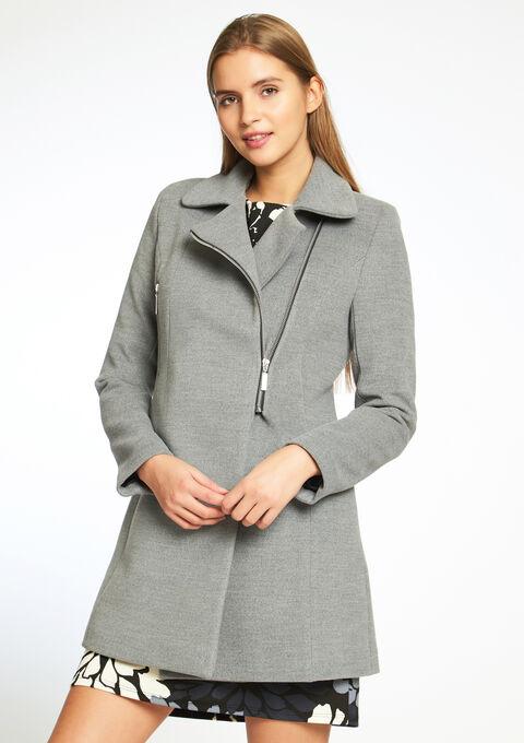 Long manteau uni style perfecto - GREY - 12000445_1062