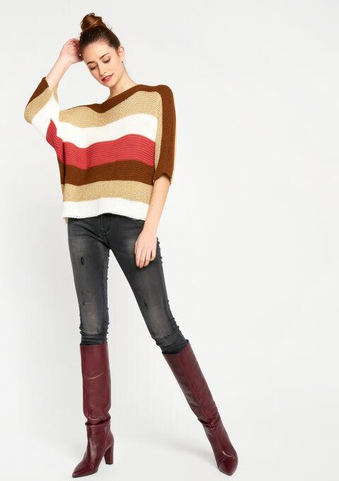 Gestreepte trui met 3/4 mouwen - TOFFEE BROWN - 04004658_1154