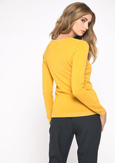 Basic trui met v-hals - YELLOW SUREAU - 04004768_4913