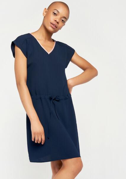 ad3489d605fcb0 ... Rechte jurk met v-hals - NAVY MILD - 08100614 2712