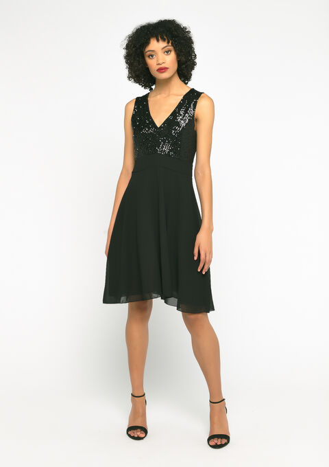 Party dress with sequins - BLACK - 08102069_1119