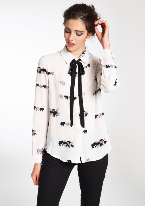 Hemd met olifantprint en strikje - OFFWHITE - 05002378_1001