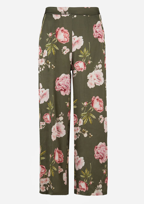 Losse broek met bloemenprint - KHAKI MILD - 06600372_4318