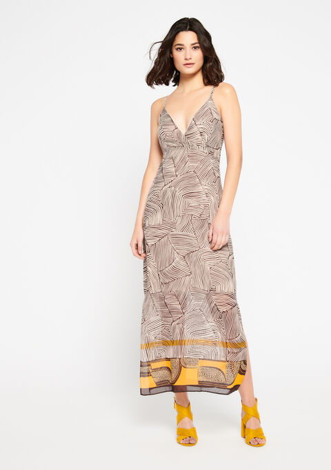 Lange jurk met grafische print - MED BEIGE - 08600460_1005