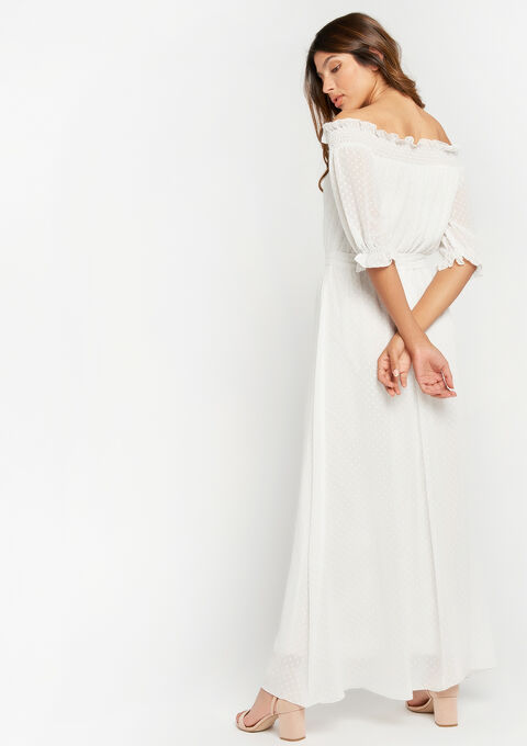 Lange jurk met open schouders, smokwerk - OFFWHITE - 08600127_1001