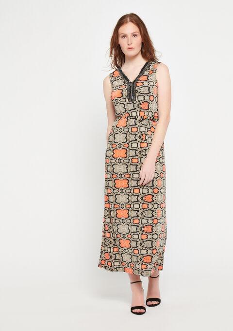 Lange jurk met fluo pythonprint - FLUO CORAL - 08100670_1262