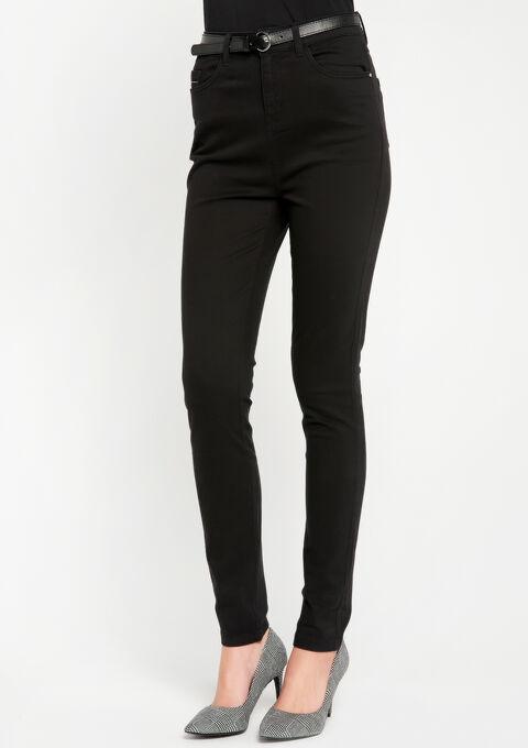 Slim fit broek met hoge taille - BLACK - 06003764_1119