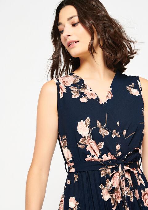 Cache coeur jurk met rozenprint - NAVY BLUE - 08101025_1651