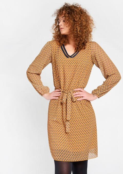 Geprinte jurk voile stof - OCHRE SPICE - 08100263_5102