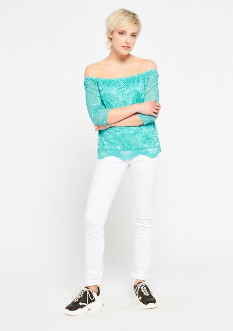 Kanten blouse met open schouders - AQUA GREEN - 02300245_1763