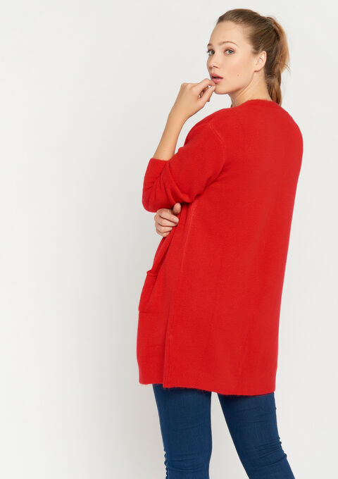 Lange cardigan - RED HIBISCUS - 04800227_1407