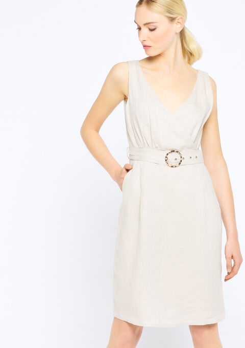Cache coeur jurk in linnen - SIMPLE TAUPE - 08100374_1044
