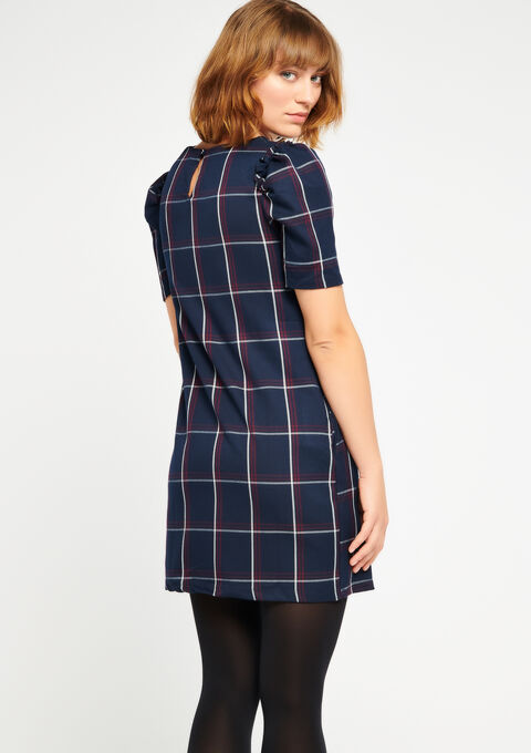 Checked dress with round neck - NAVY BLUE - 08100368_1651