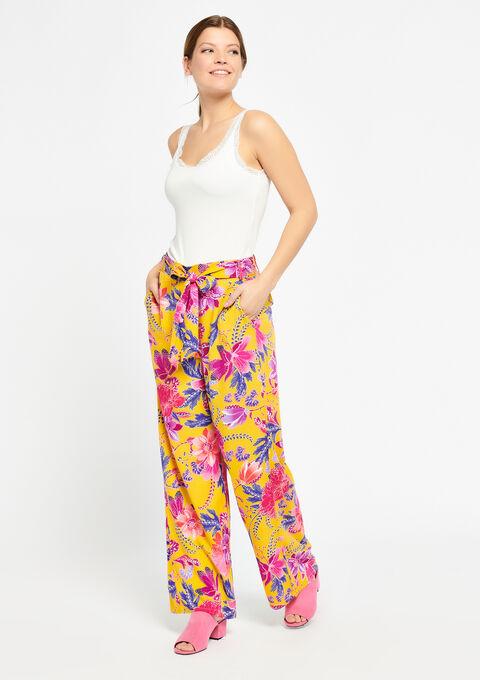 Wijde broek met bloemenprint - LEMON CURRY - 930059