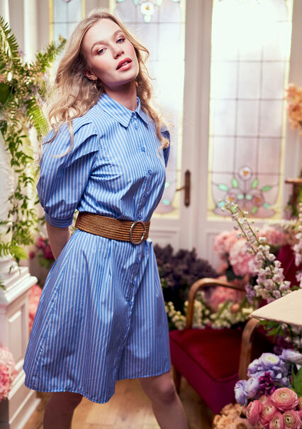 Robe popline rayée manches bouffantes - BLUE BERRY - 08102197_2918