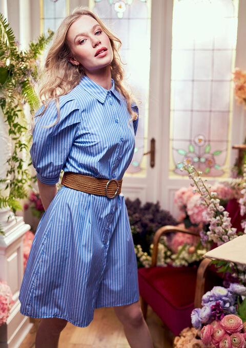 Gestreepte poplin jurk met pofmouwen - BLUE BERRY - 08102197_2918
