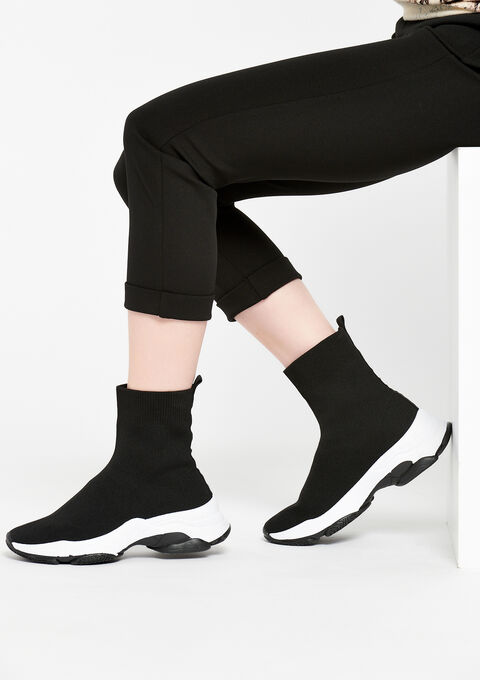 Sock boot sneakers with chunky sole - BLACK - 13000365_1119
