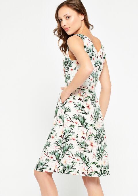 Cache coeur jurk met tropische print - WHITE CREAM - 08100375_911